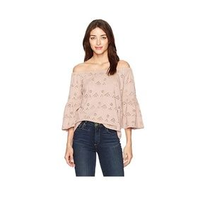Lucky Brand Eyelet Off the Shoulder Top Size Small
